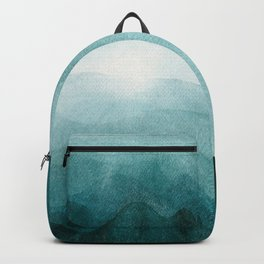 Sunrise in the mountains, dawn, teal, abstract watercolor Backpack