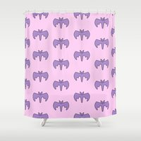 pastel goth Shower Curtains featuring Pastel Bat by Samantha Little