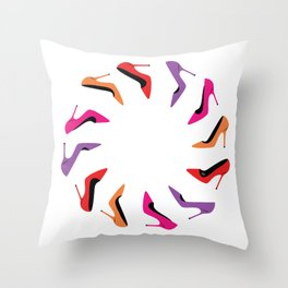 Colorful high heel shoes graphic illustration Throw Pillow