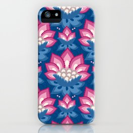 JACOBEAN florals 10, navy blue and pink iPhone Case