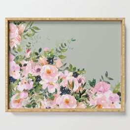 Floral Watercolor, Roses, Green and Pink Serving Tray