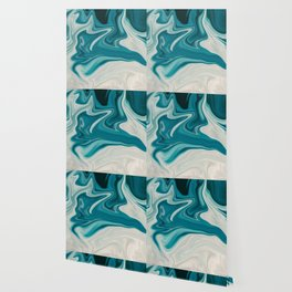 White & Teal Abstract Art Painting Wallpaper