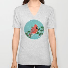 Winter Cardinal with Holly Unisex V-Neck