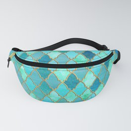 Aqua Teal Mint and Gold Oriental Moroccan Tile pattern Fanny Pack