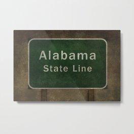 Alabama State Line roadside sign illustration Metal Print