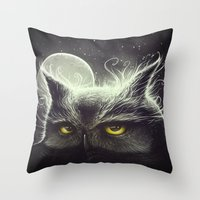 owl Throw Pillows featuring Owl & The Moon by Dr. Lukas Brezak