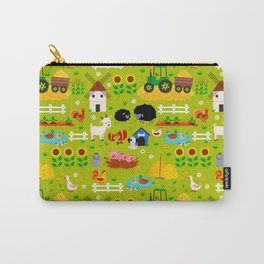 Farm Life Barn Animals Tractor Green Pattern Carry-All Pouch