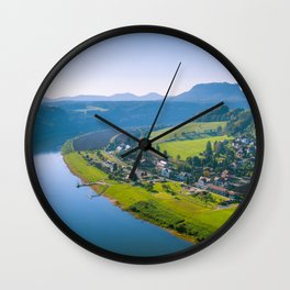 Rathen and the Elbe river Wall Clock