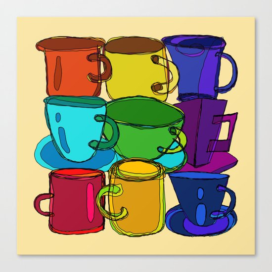 Tea Cups and Coffee Mugs Spectrum Canvas Print