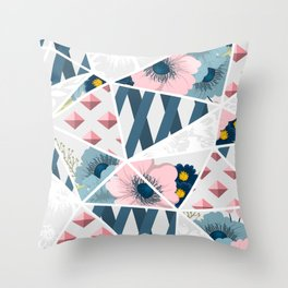 Colorful Geometric Flowers Pattern Throw Pillow