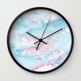 Pink and Blue Clouds . Sky Wall Clock