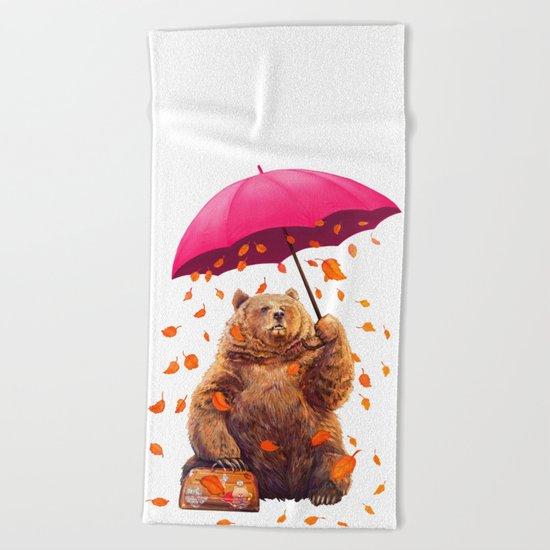autumn bear Beach Towel