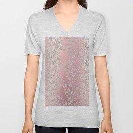 Elegant pink gradient glam silver glitter floral Unisex V-Neck