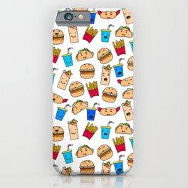 Kawaii Fast Food Burger Fries Taco Pattern White iPhone Case