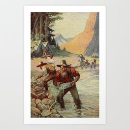 School History of the United States 1918 - Forty-niners panning for gold in California Art Print