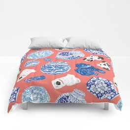 Chinoiserie Curiosity Cabinet Toss 3 Comforters