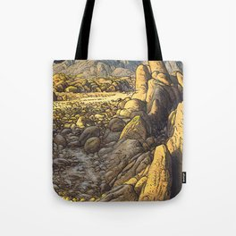 Rocky desert at sunset Tote Bag