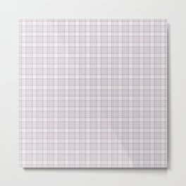 Mauve Dusty Mauve Grid Checks Metal Print