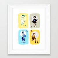 ghibli Framed Art Prints featuring Ghibli Gijinkas by TEAM JUSTICE ink.