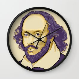 Shakespeare - royal purple and yellow Wall Clock