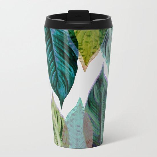 Green Leaves Metal Travel Mug