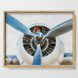 Legendary Vintage Aircraft Engine And Propeller On White Serving Tray