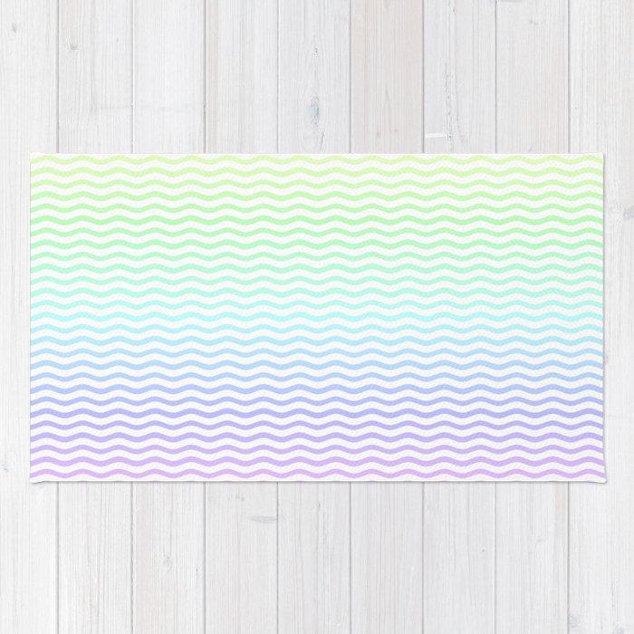 Chevron Stripe Rug: Pastel Rainbow Ombre Chevron Stripe Rug By Podartist