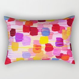 DOTTY in Pink - October Special Revisited Bold Colorful Square Polka Dots Original Abstract Painting Rectangular Pillow