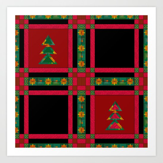 Christmas. Patchwork . Art Print