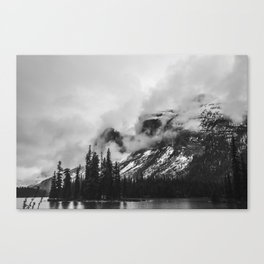 Smokey Mountains Maligne Lake Landscape Photography Black and White by Magda Opoka Canvas Print