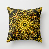 versace Throw Pillows featuring Versace Gold by Goldflakes