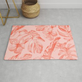 Tropical Dream Palm Leaves Deep Pink Rug