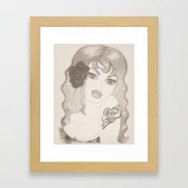Vintage Pinup Sketch Framed Art Print