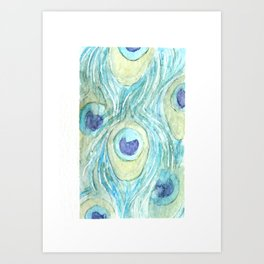 Manganese Blue Hue Feathers Art Print