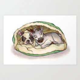 Bubba & Sleeping Reindeer Art Print
