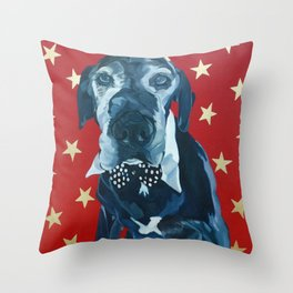 Starry Leonard the Black Lab Dog Portrait Throw Pillow