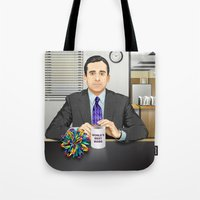 michael scott Tote Bags featuring Steve Carell as Michael Scott (The Office) by Leo Maia