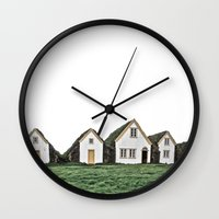 home sweet home Wall Clocks featuring home by LOPP