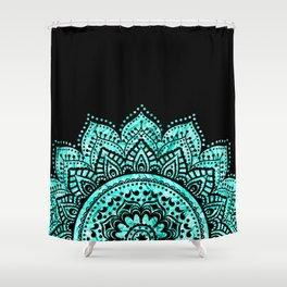 Attractive Black Teal Mandala Shower Curtain