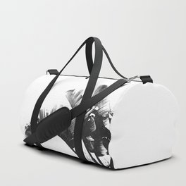 Palm leaves black and white tropical watercolor Duffle Bag