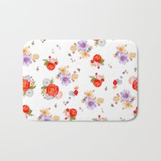 RED FLORAL Bath Mat