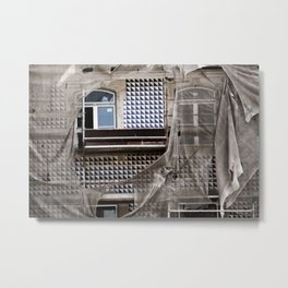 Antique Building's Facade with Scaffolding Metal Print