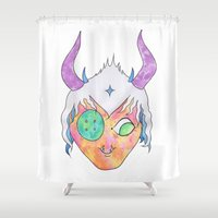 doom Shower Curtains featuring Alexis Doom by Blue Barber
