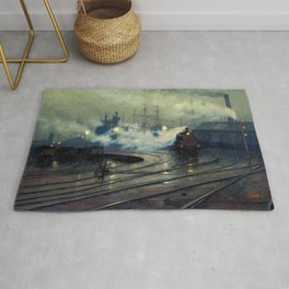 Classical Masterpiece Cardiff Docks by Lionel Walden, circa 1894 Rug