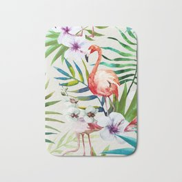 Fancy Tropical Flamingos Bath Mat