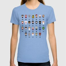 Doctor Who Alphabet SMALL Womens Fitted Tee Tri-Blue