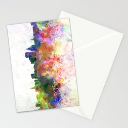 Hartford skyline in watercolor background Stationery Cards