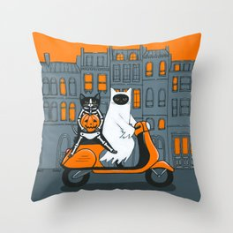 Ghost and Skellie Cat Moped Ride Throw Pillow