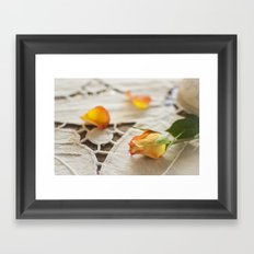 Yellow Rose on a Tablecloth Framed Art Print