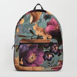 Vintage & Shabby Chic - Grey Botanical Lush Flowers Evening Garden Backpack